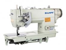 Высокоскоростная двухигольная швейная машина челночного стежка Shunfa SF875-5D для средних и тяжёлых тканей